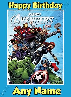 All Occasions Birthday Open AVENGERS COMIC Personalised Handmade Card .........