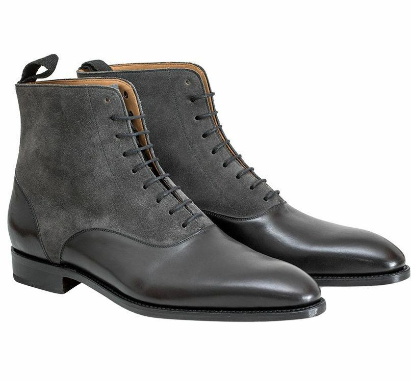 botas para hombre hecho a mano dos tonos de Tobillo Negro Cuero Y Gamuza gris Zapatos Ropa Formal