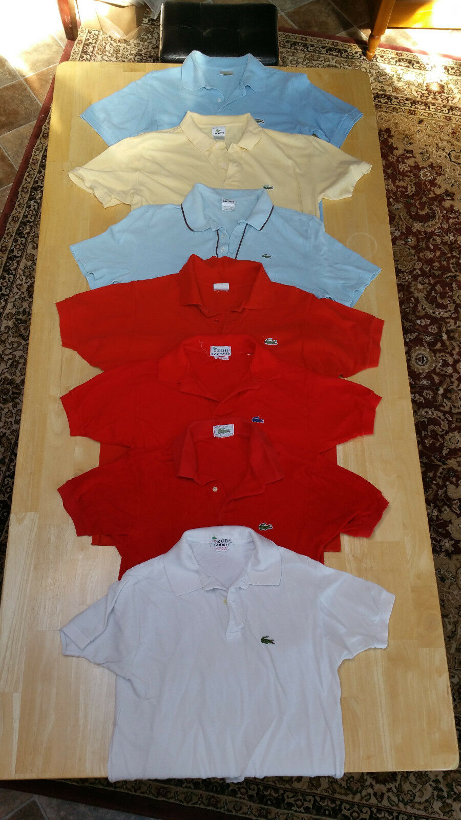 Lacoste lot of 7 men's SS short sleeve polo colar shirts