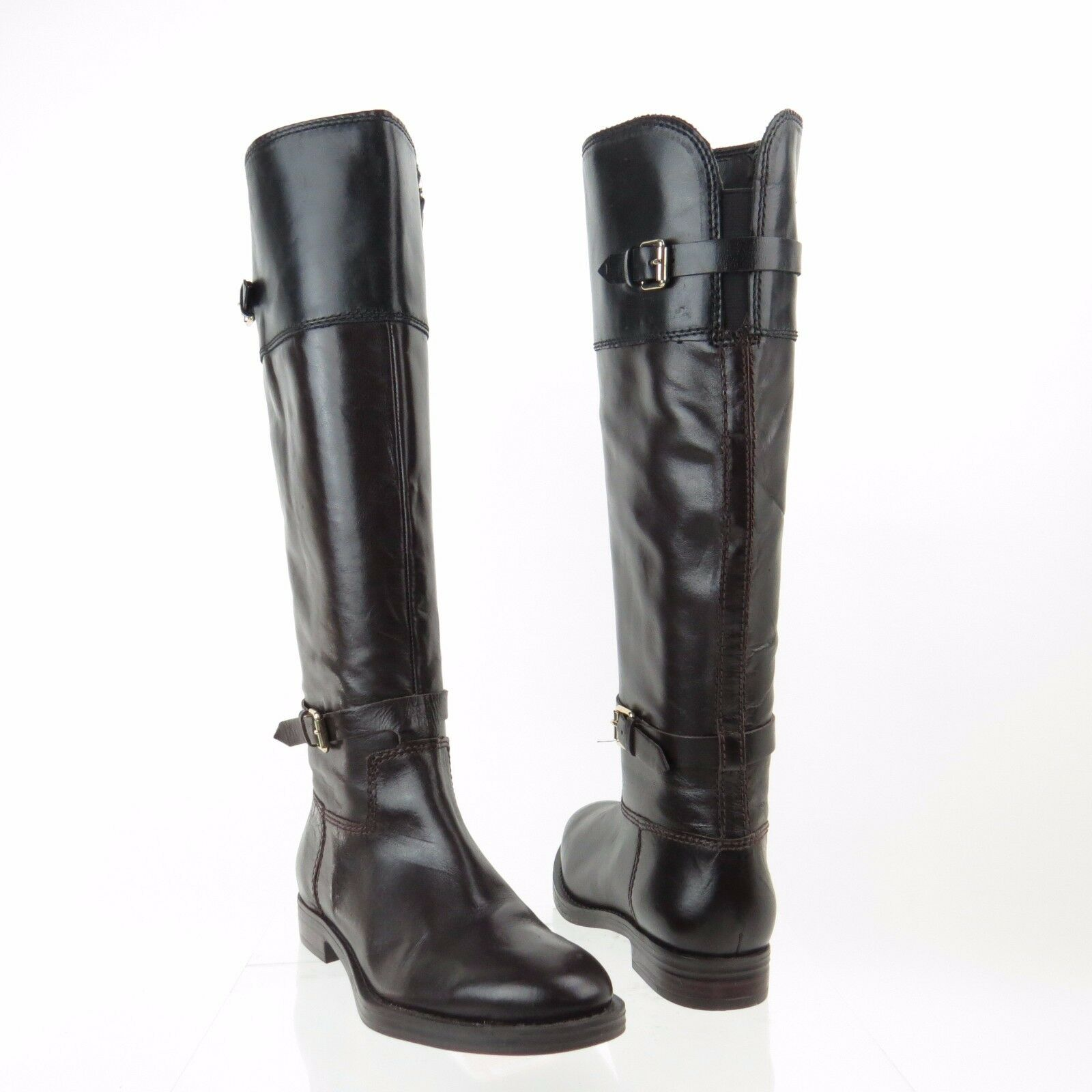 Women's Enzo Angiolini EERO Shoes Dark Brown Leather Riding Boots Sz 6 M NEW