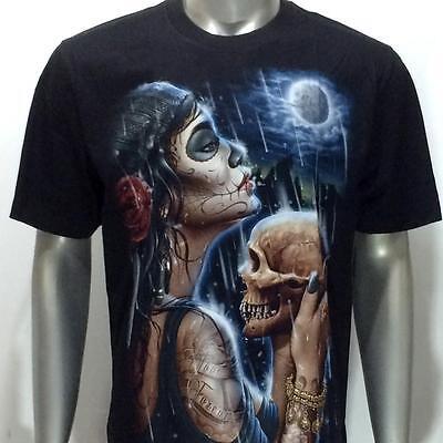 Skull Dragon T-shirt r36 Rock Eagle Tattoo Ghost Halloween Street Casual Cotton