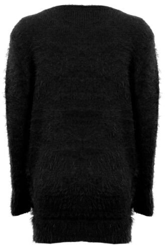 Ladies Long Sleeve Zigzag Print Fur Warm Winter Sweater Women/'s Jumper 8-14