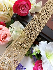 1 Yards Latest Indian Golden Zari floral Elegant Sari Dupatta Boarder Lace Trim