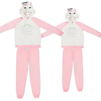 Ladies Womens Mum Fluffy Unicorn Pyjamas PJ Top /& Bottom Set