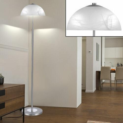 Steh Leuchte Esszimmer Stand Lampe Glas Schirm Decken Fluter Edelstahl Strahler