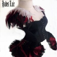 RED/WHITE COQUE FEATHER EPAULETTES WINGS COSPLAY LOLITA BURLESQUE SHOULDER TOP