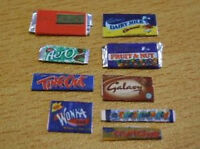 9x miniature bars of chocolate modern kit 1:12th dolls house shop  2 doll's UK