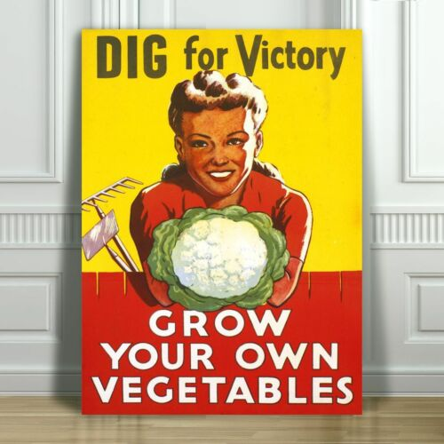 VINTAGE WAR PROPAGANDA CANVAS ART PRINT POSTER Grow Your Own Veggies 24x18""