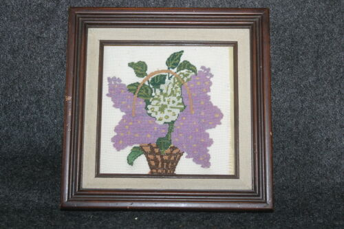 YUGOSLAVIA VINTAGE FRAMED MICRO CROSS STITCH COMPLETED FLOWER BASKET PICTURE
