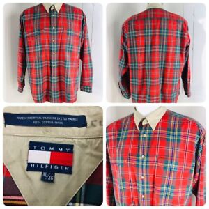 dfba8a26 TOMMY HILFIGER Vtg Mens Size XL Green Red Plaid LS Flag Button Down ...