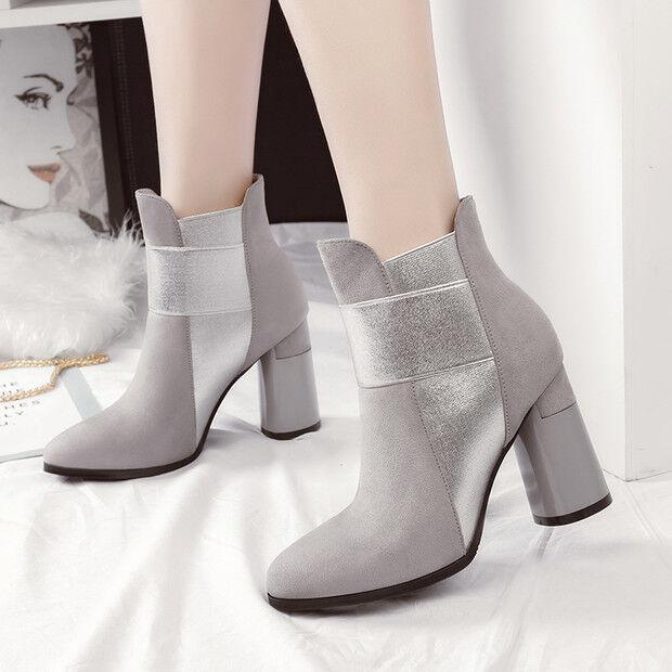 botas bajo tacón tobillo de aguja 9 cm tobillo tacón gris como piel 9561 67b7ec