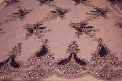 Paisley embroidery design on lace fabric, Embroidery and sequin fabric on mesh