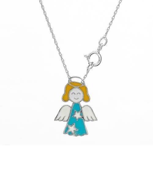 Kette süßer Engel, emailliert, türkis, weiß, gelb, Sterne 925er Silber (Stempel)