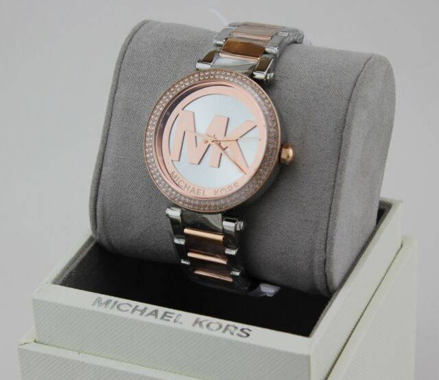 NEW AUTHENTIC MICHAEL KORS PARKER SILVER ROSE GOLD CRYSTALS WOMEN'S MK6314 WATCH