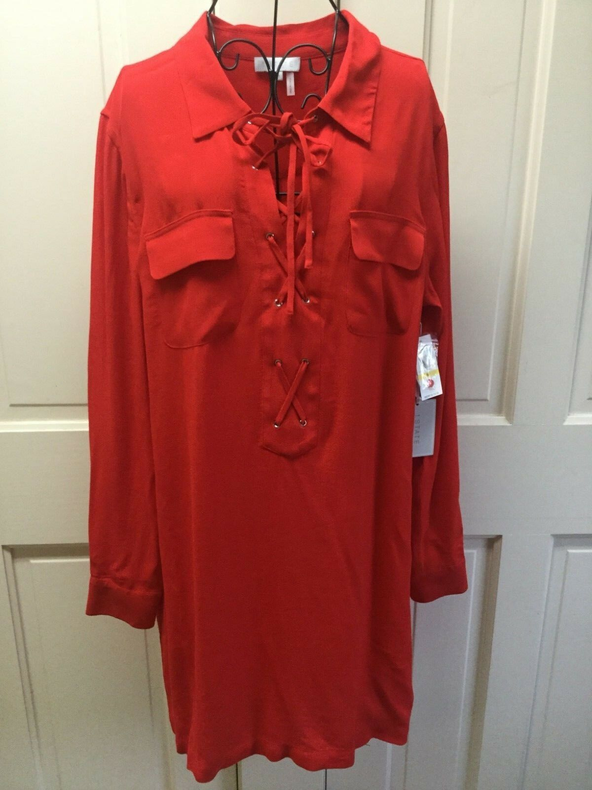 Red Game On Top Blouse Tunic Dress Sz M Lace Up Sexy NWT  119