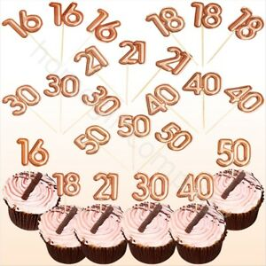 Details about 16/18/21/30/40/50 Rose Gold Birthday Party Cupcake Toppers  Cake Decoration x 20