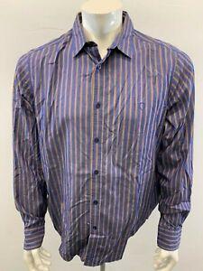 Ben-Sherman-Beige-Blue-Striped-Men-039-s-XL-Long-Sleeve-Button-Down-Casual-Shirt