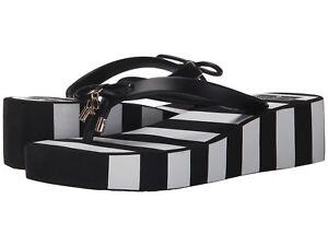 fae0324261f5 KATE SPADE Women s Rhett Wedges Flip Flops Sandals Black White ...