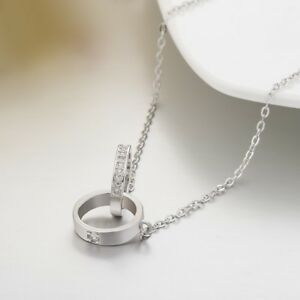 Interlocking-RINGS-necklace-Love-Solid-925-Sterling-silver-w-CZ-Extension-chain