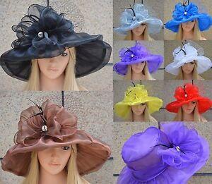 Womens Dress Church Wedding Kentucky Derby Wide Brim Sun Vintage Style Hat A342