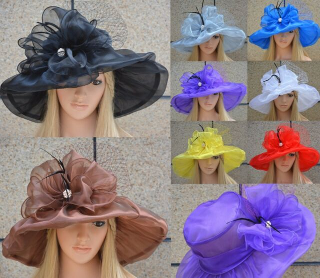 Womens Dress Church Wedding Kentucky Derby Wide Brim Sun Vintage Style Hat A342