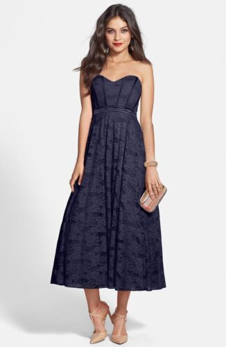 NEW HAILEY by ADRIANNA PAPELL Strapless Glitter Lace Party DRESS SIZE 2 NAVY