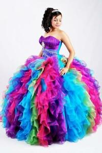 Details about 9 New Sweetheart Rainbow Wedding Dresses Ruffles Bridal  Gown Plus Size 9-99