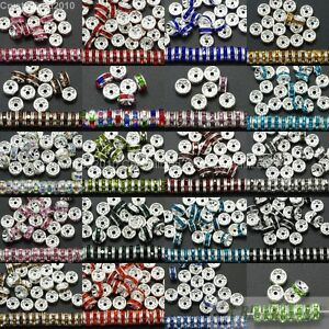 100-Czech-Crystal-Rhinestone-Silver-Rondelle-Spacer-Beads-4mm-5mm-6mm-8mm-10mm