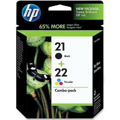 ORIGINAL HP HEWLETT PACKARD BLACK & COLOUR INK CARTRIDGE VALUE PACK HP21 & HP22