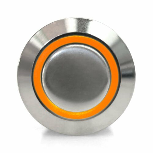 16mm Momentary Billet Button with LED Orange Ring AutoLoc AUTSW38O street