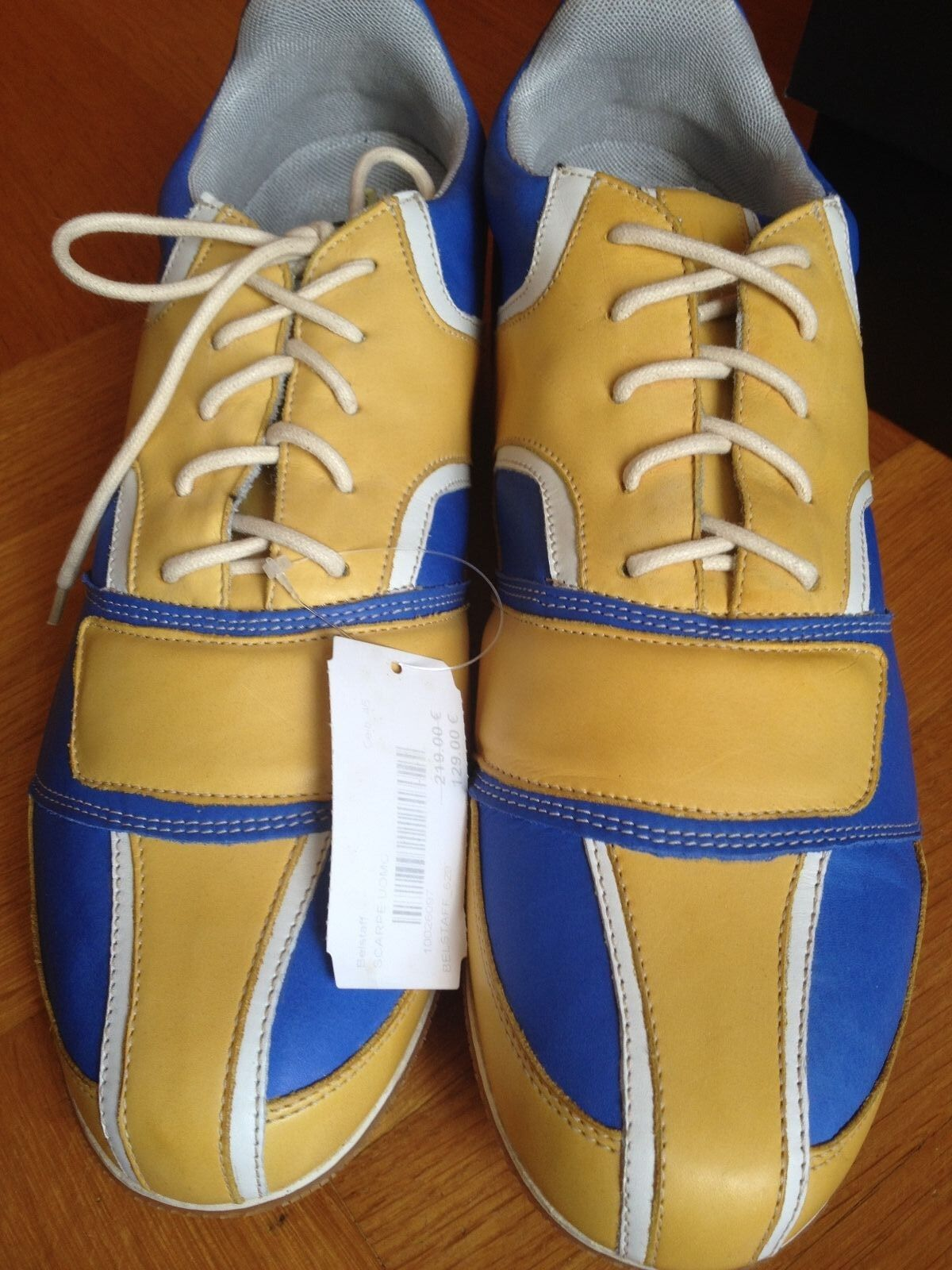 BELSTAFF SNEAKER ATHLETIC PLIMSOLLS blueE YELLOW WHITE EUR 46 US 12 UK11