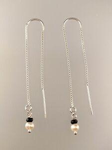 Black Garnet Threader Earrings