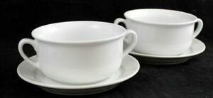 Williams-Sonoma-ESSENTIAL-WHITE-2-Cream-Soup-Bowls-with-Saucers-GREAT-CONDITION