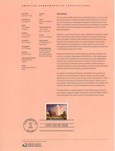 #4479 $17.50 Old Faithful Stamp USPS #0906 Souvenir Page