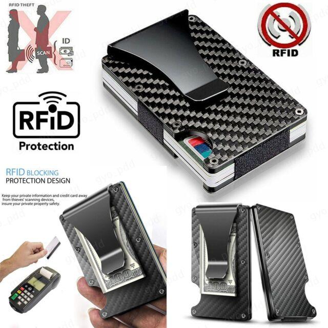 Slim Credit Card Holder Money Clip Carbon Fiber RFID Blocking Metal Wallet Purse