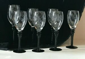 6 Wine & 1 Water Goblets - Etched Grapes on Bowl, Deep Amethyst/Black Stems