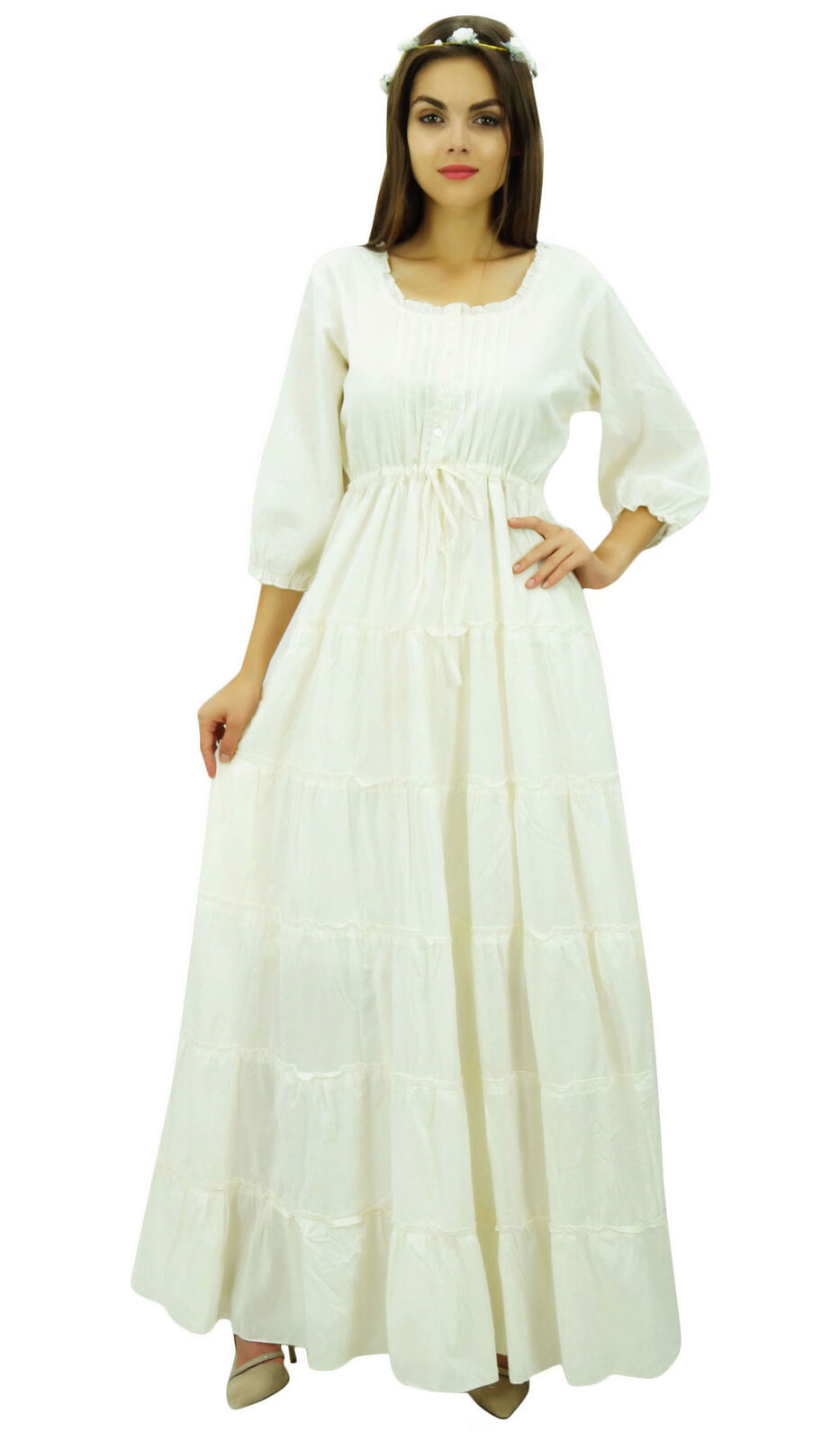 Bimba Off White 3 4 Sleeve Summer Cotton Maxi Drawstring Waist Boho Dresses