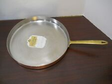 """PAUL REVERE WARE 12"""" Solid Copper Stainless Steel Crepe Souffle Flat Bottom Pan"""