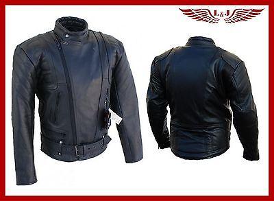 Nuova Giacca Di Pelle Moto Biker Vera Pelle Bovina Con Protezioni Rimovibili-n Protektoren It-it Colori Armoniosi