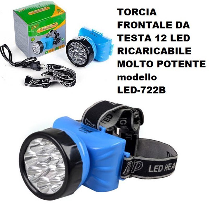 Torch Frontal Head 12 Led Rechargeable Very Powerful Led-722b Lamp 1w