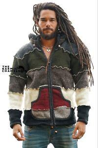 Chaqueta-Calida-Hippie-Gris-Verde-Doble-Punto-Fleece-Forrado-Abrigo-Con-Capucha-Nepal
