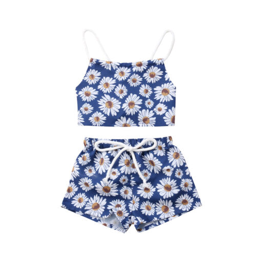 USA Newborn Kids Baby Girls Flower Crop Vest Top Short Pants Outfits Clothes