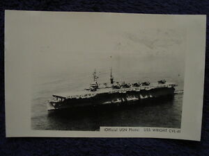 Old-RPPC-USS-WRIGHT-Aircraft-Carrier-US-Navy-CVL49-USN-Photo-Postcard-LL-Cook