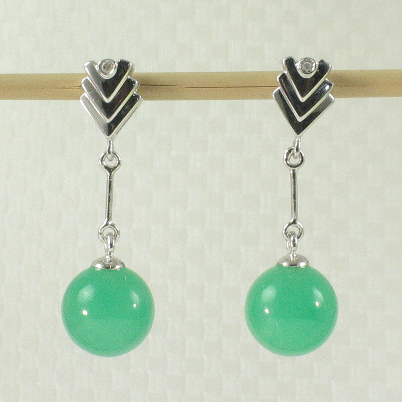 14k White Solid gold with Diamond & 8mm Beads Green Jade Dangle Earrings TPJ