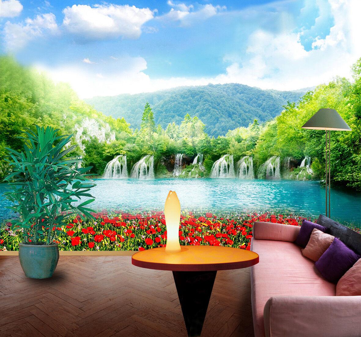 3D Fließender See Himmel 7683 Tapete Wandgemälde Tapeten Bild Familie DE Jenny | Moderne und stilvolle Mode  | New Listing  | Quality First