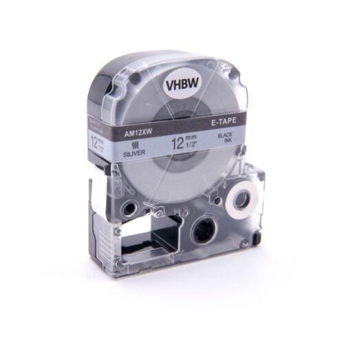 original vhbw® Label Tape 12mm SCHWARZ-SILBER für EPSON LabelWorks LW-900P
