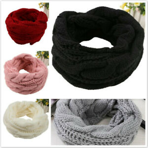 Womens Girls Warm Winter Thick Snood Shawl Scarf Cowl Neck Warmer Soft Knit