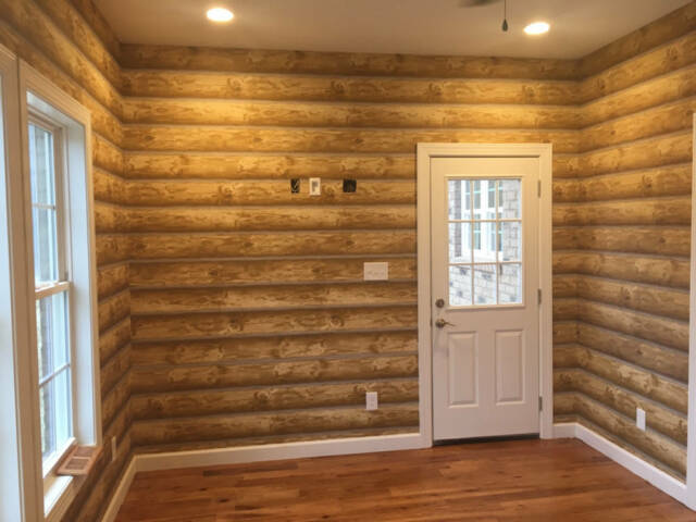 Log Cabin Wallpaper Real Log Look Rustic Wall Paper Bolt 60 75 Sq Ft Prepasted For Sale Online