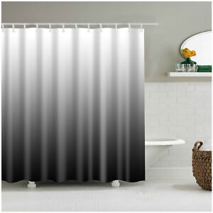 Image Is Loading Shower Curtain Decor Set Ombre Colorful Design Black