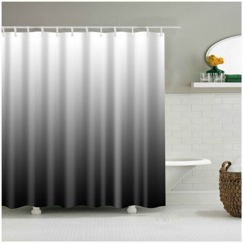 Shower Curtain Decor Set Ombre Colorful Design Black Gray Bath Curtains 12 Hooks